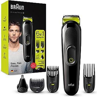 Braun Recortadora MGK3221 6 en 1, Máquina recortadora de barba, cortapelos, recortadora facial, para nariz y orejas para h...