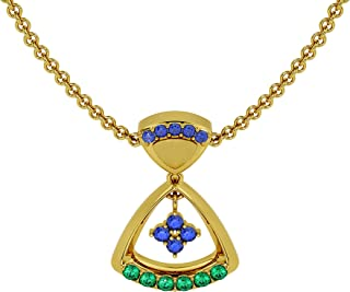 Gehna 18k (750) Yellow Gold, Emerald and Sapphire Pendant for Women