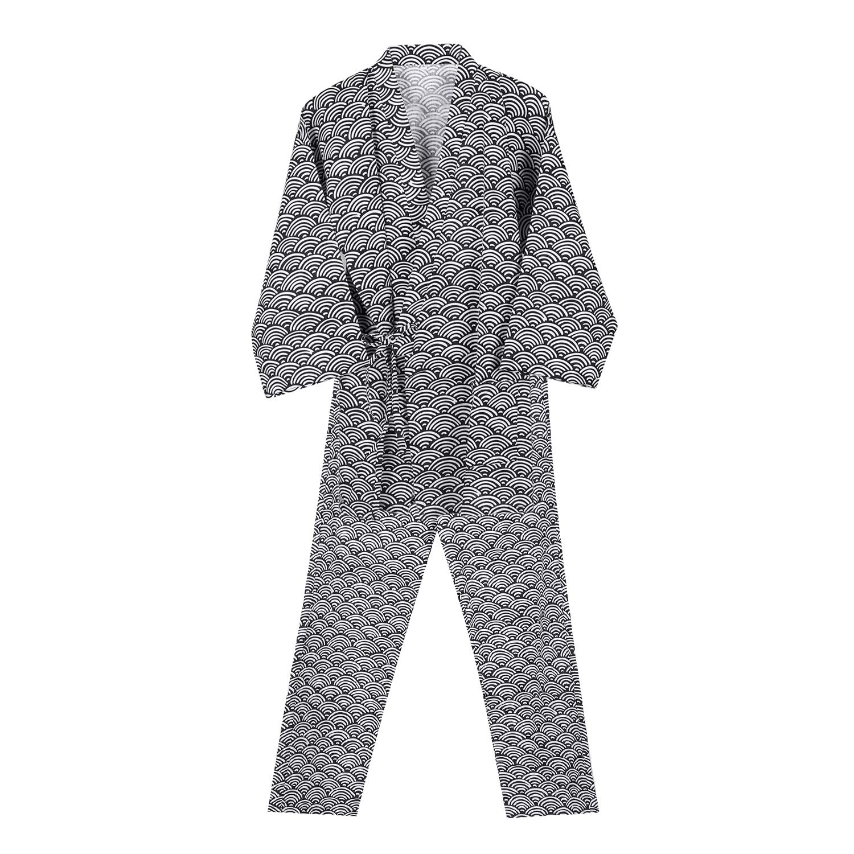 Men Women Bathrobe with Pants,Lightweight Cool Gauze Cotton Casual Kimono Set