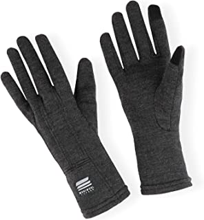 MERIWOOL Merino Wool Unisex Glove Liners for use with Touch Screens in Charcoal Grey - Choose Your Size