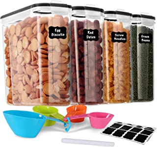 GoMaihe 4L Boite de Rangement Cuisine Lot de 4, Bocaux Hermetiques Alimentaires en Plastique Scellée avec Couvercle, pour ...