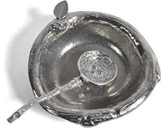 Crosby & Taylor Pewter 2.5-inch Salt Dish with Bird's Nest Spoon