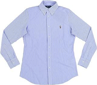 Womens Long Sleeve Knit Oxford Shirt (Large, Blue)