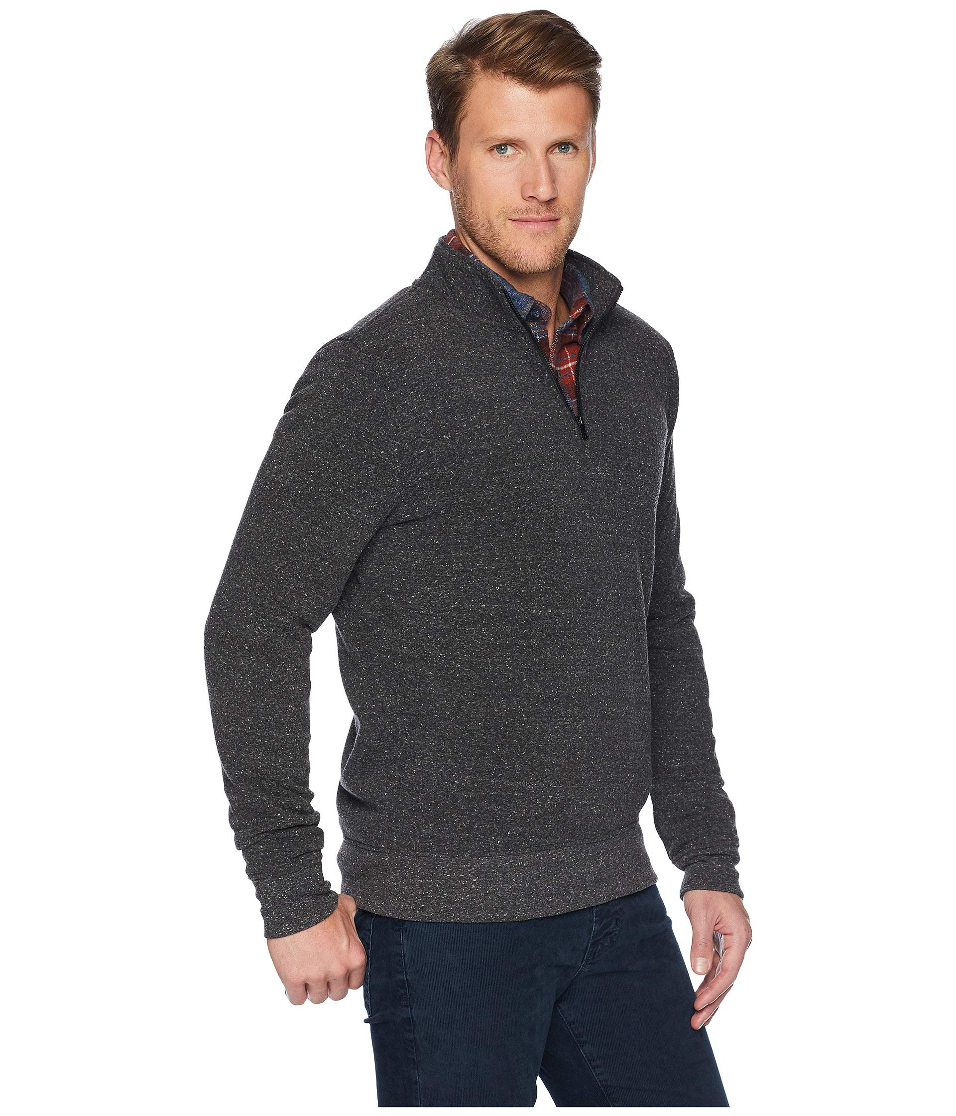 4 Thought Mock 2 Chad Black Neck Zip Threads 1 Heather UCO4xCd