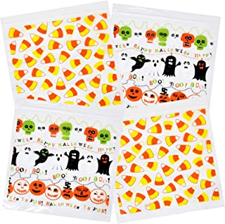 Gift Boutique Halloween Candy Goodie Bags Zipper Seal Trick and Treat Plastic Sandwich Bag 80 Bags 2 Designs 20 Bags per Box 6.8