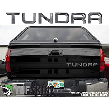 TufSkinz | Tailgate Inserts Compatible with 2014-Up Tundra - 6 Piece Kit (Domed (Raised 4mm), Liquid Chrome)…