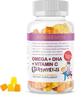 Omega 3,6,9 + DHA + Vit C w Chia Seed Gummies for KIDS 60 Gummies, Gluten Free, Vegetarian From HERBS OF THE EARTH