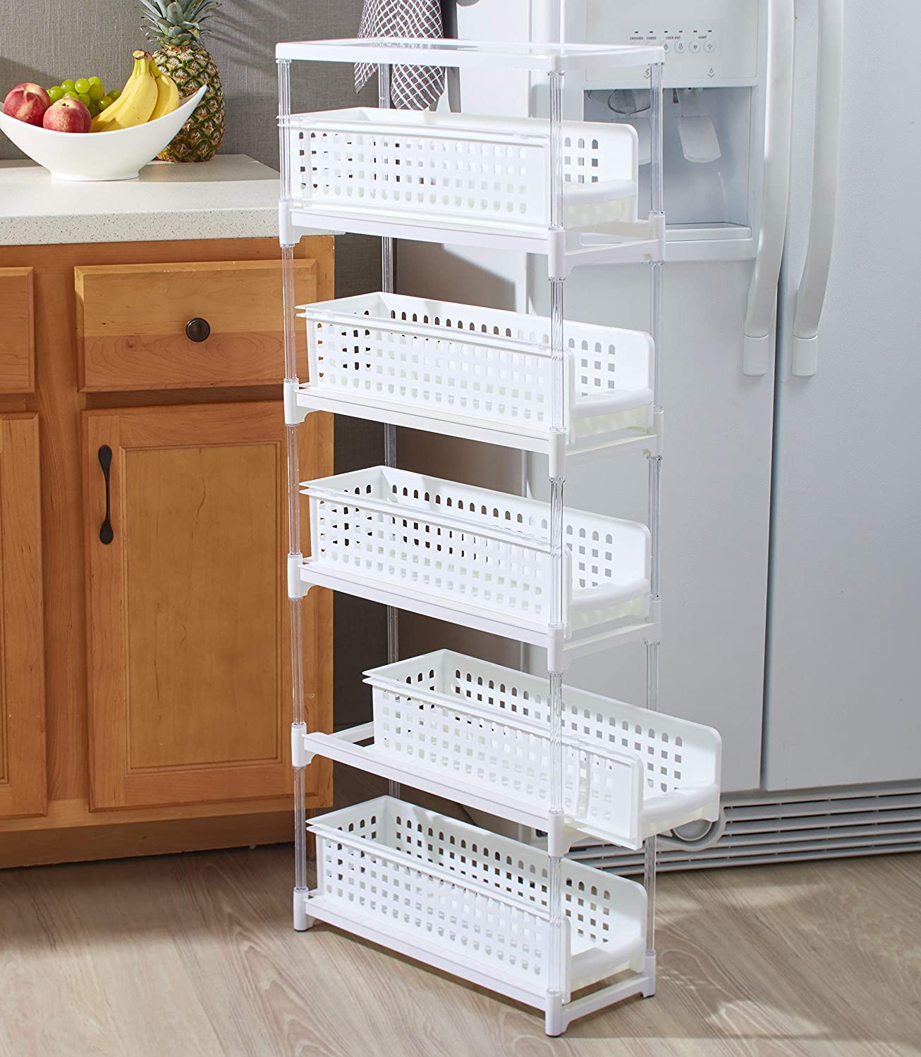 Slim Kitchen Storage with Five Slide Out Drawers for Pantries, Gaps,  Bathrooms