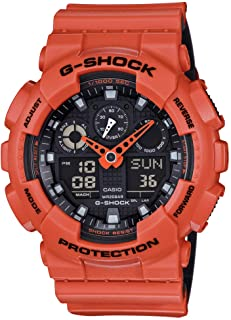 G-Shock Stainless Steel Quartz Sport Watch with Silicone Strap, Orange, 29.4 (Model: GA100L-4A)
