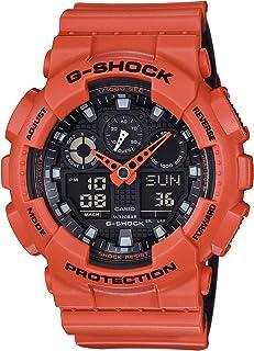 Men's G-Shock XL Series Quartz Sport Watch Resistant Strap, Orange/Black, 29.4 (Model: GA100L-4A)