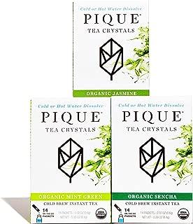 Pique Tea Organic Green Tea Crystals Sampler - Gut Health, Fasting, Calm - 42 Single Serve Sticks (Pack of 3)