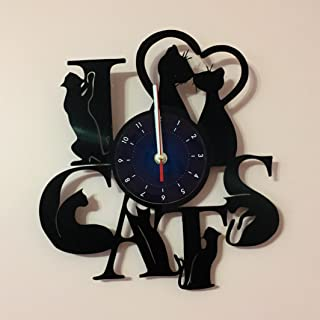 I LOVE CATS - Vinyl Record Wall Clock - Kids Room wall decor - Gift ideas for kids, girls, boys, teens - Cartoon Unique Art Design