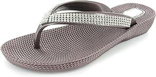Sandalias / chanclas / zapatillas de cuña con dedo separado y diamantes de imitación para mujer cómodas, para verano / playa, tallas 36 - 41