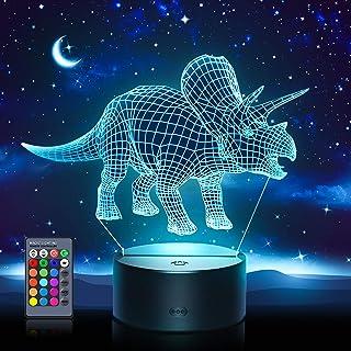 Easony Luz de Noche de Dinosaurio 3D LED Lámpara de Mesa de Cabecera 7 Colores Cambiando - Regalos para Niños
