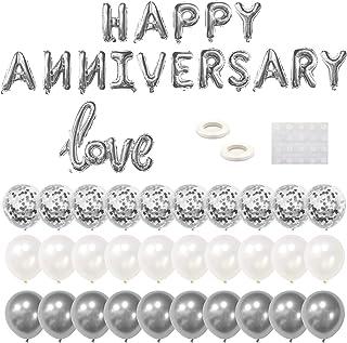 مجموعة بالونات Tuoyi Happy Anniversary Party Balloons ، لافتة بالونات ذهبية من رقائق معدنية لـ 16 عامًا سعيدًا ، بالونات ك...