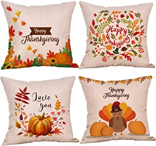 Kyerivs 4 Pack Pillow Cover Throw Cushion Cover 18 x 18 Inches Thanksgiving Day(NO Pillow)-TD1