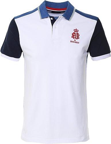 Hackett Hommes Polo en Coton HRR Blanc