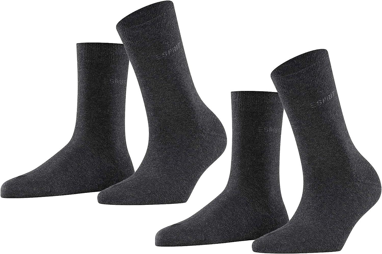 Esprit Socken Uni 2-Pack Baumwolle Damen schwarz grau viele weitere Farben verst/ärkte Damensocken ohne Muster atmungsaktiv d/ünn und einfarbig im Multipack 2 Paar