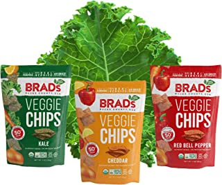 Brad's Plant Based Organic Veggie Chips Variety Pack, Kale/Cheddar/Red Bell Pepper, 3 Count