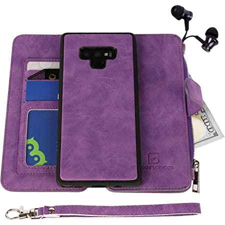 """MODOS LOGICOS Case for Samsung Galaxy Note 9 6.4"""", [Detachable Wallet Folio][2 in 1][Zipper Cash Storage][14 Card Slots 1 Id Window] PU Leather Purse with Removable Inner Magnetic TPU Case - Purple"""
