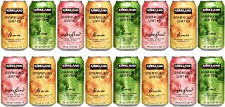 Kirkland Signature Flavored Sparkling Water Variety Pack with Zero Calories and Zero Sweeteners - 12 Ounce Cans (Pack of 16)