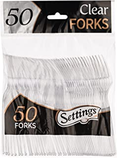 [50 Count] Settings Plastic Clear Forks, Heavyweight Disposable Cutlery, Great For Home, Office, School, Party, Picnics, Restaurant, Take-out Fast Food, Outdoor Events, Or Every Day Use, 1 Bag