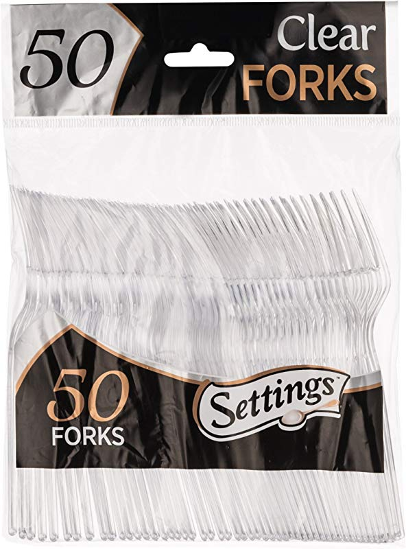 50 Count Settings Plastic Clear Forks Heavyweight Disposable Cutlery Great For Home Office School Party Picnics Restaurant Take Out Fast Food Outdoor Events Or Every Day Use 1 Bag