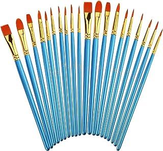 Siziviki Artist Paint Brush Set, 20PCS Nylon Hair Brushes of 10 Different Sizes, Painting Brushes Kit for Beginners and Pr...