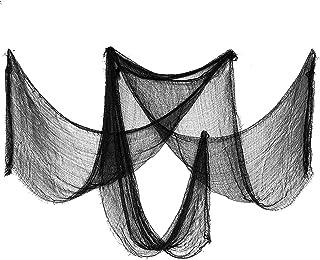 JIASHA 2m x 5mChiffon Effrayant NoirTissu de décoration d'halloween | Accessoire pour fête d'horreur | Décoration pour Hal...