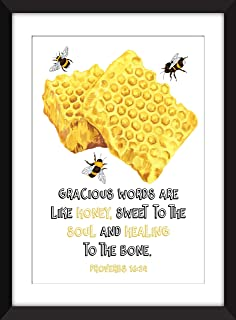 Gracious Words Are Like Honey Proverbs 16:24 - Unframed Bee Print/Sin Marco