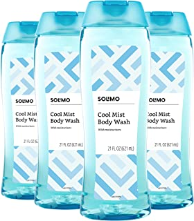 Amazon Brand – Solimo Body Wash, Cool Mist Scent, 21 Fl Oz (Pack of 4)