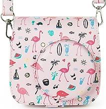Protective Case for Fujifilm Instax Mini 8 Mini 8+ Mini 9 Fuji Instant Camera - Premium Vegan PU Leather Groovy Bag Cover with Removable Shoulder Strap,Pink Flamingo