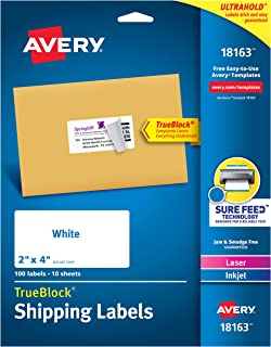 Avery Shipping Address Labels, Laser & Inkjet Printers, 100 Labels, 2x4 Labels, Permanent Adhesive, TrueBlock (18163), White