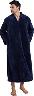 Cityoung Womens Long Warm Bathrobe Zipper Fleece Plush Housecoat Ladies Pajamas Soft Dress Gown