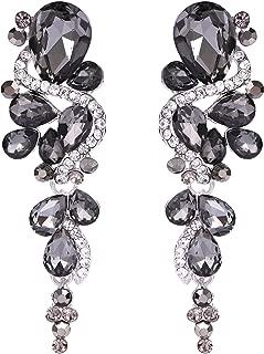 BriLove Women's Bohemian Boho Crystal Wedding Bridal Multiple Teardrop Chandelier Long Dangle Earrings