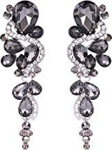 BriLove Women's Bohemian Boho Crystal Wedding Bridal Multiple Teardrop Chandelier Long Dangle Earrings