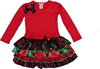 Big Girls Red Tiered Taffeta Christmas Holiday Dress
