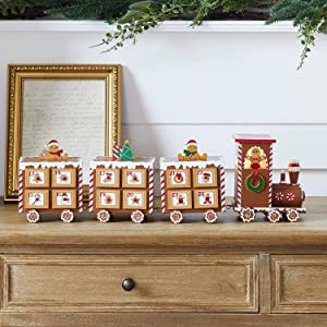 Lights4fun, Inc. Pre Lit Battery Operated LED Gingerbread Train Wooden Advent Calendar with Drawers