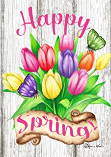 """Toland Home Garden 1012301 Spring Tulips 28 x 40 Inch Decorative, (28"""" x 40""""), Double Sided House Flag"""