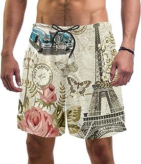 henghenghaha Mens Swim Shorts Waterproof Quick Dry Beach Shorts with Mesh Lining,Eiffel Tower and Flowers
