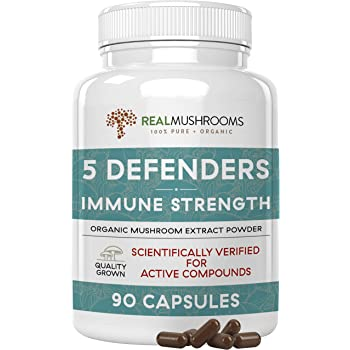 5 Defenders Mushroom Extract Powder Capsules for Immune Support & Digestion, 90 Caps Chaga, Reishi, Shiitake, Maitake & Turkey Tail Supplement for Stress & Better Mood, Verified Levels of Beta-Glucans