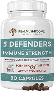 Sponsored Ad - Real Mushrooms 5 Defenders Mushroom Supplements for Immune Support (90ct) Promote Better Overall Wellbeing ...