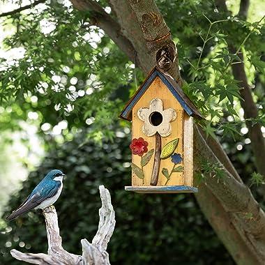 Jetlinkcrafts 1419004289 Garden Decorative Wooden Birdhouse, Flower Yellow