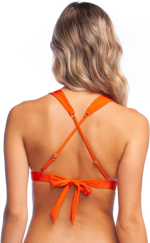 BCBGMAXAZRIA Women's Plunging V-Neck Shirred Solid Color Triangle Bra Bikini Swimsuit Top
