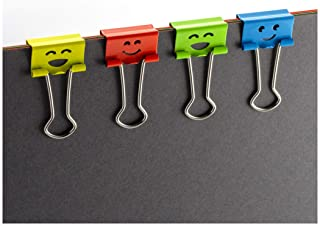Officemate Happy Smiling Face Binder Clips, Small Size, 42 in Pack, Comes in Assorted Colors (31090)
