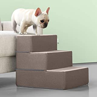 Zinus 3 Step Easy Pet Stairs/Pet Ramp/Pet Ladder/Sand, Medium