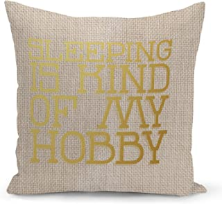 Sleeping is my hobby Beige Linen Pillow with Metalic Gold Foil Print Funny Theme Couch Pillows