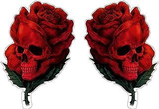 Rose Skull Aufkleber Sticker 2 er Set Schädel Totenkopf Blumen Autoaufkleber Rosen Stickerbomb je ca. 12x8 cm