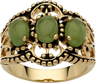 Palm Beach Jewelry 18K Yellow Gold Plated Antiqued Oval Shaped Genuine Green Jade 3 Stone Ring