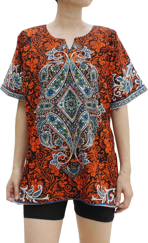 RaanPahMuang Central Paisley African Dashiki Poncho Short Sleeve Shirt
